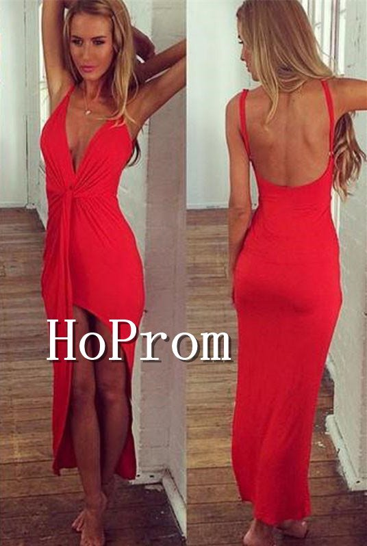 Backless Chiffon Prom Dress,Red Long Backless Prom Dresses