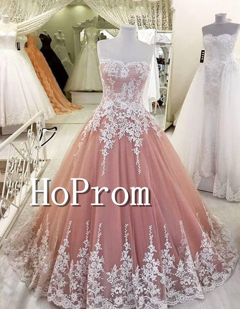 A-Line Lace Appliques Prom Dress,Floor Length AProm Dresses
