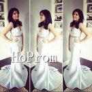 Sleeveless Mermaid White Prom Dress,Floor Length Prom Dresses