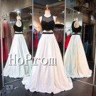 High Neck Sexy Prom Dress,Sleeveless Long Prom Dresses