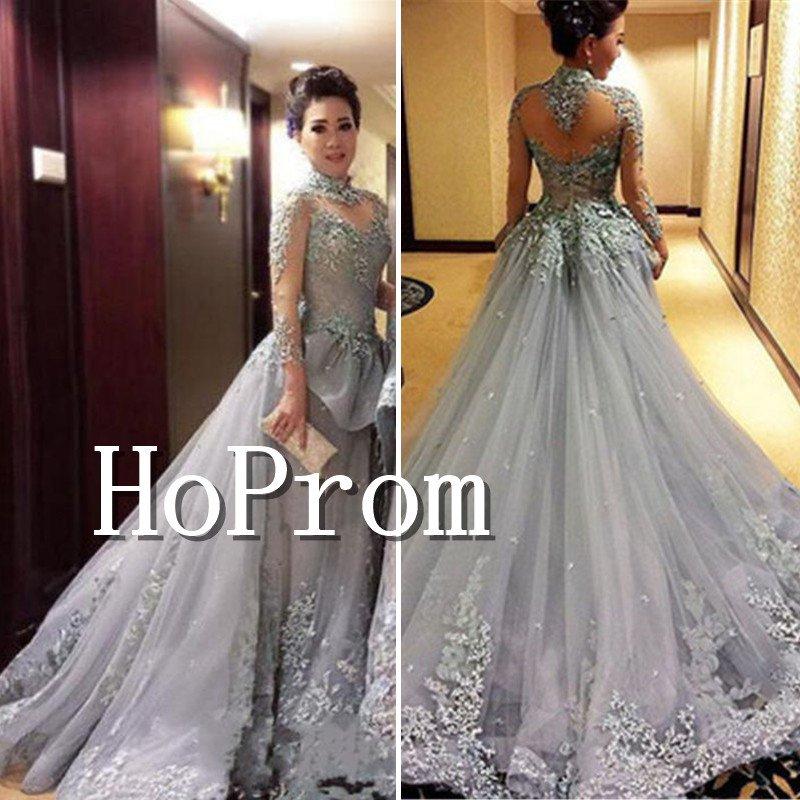 High Neck Applique Sexy Prom Dress,Floor Length Prom Dresses