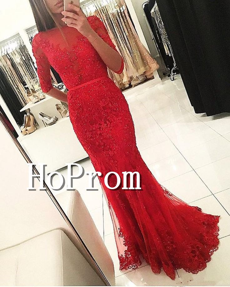Long Sleeve Sexy Prom Dress,Beading Red Prom Dresses