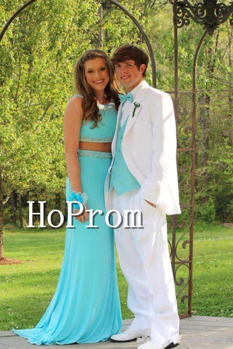 Two Piece Prom Dress,Blue Simple Sexy Prom Dresses