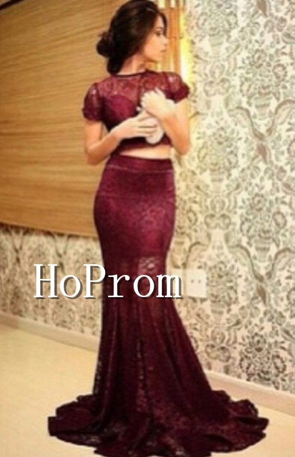 Short Sleeve Lace Prom Dress,Two Piece Prom Dresses