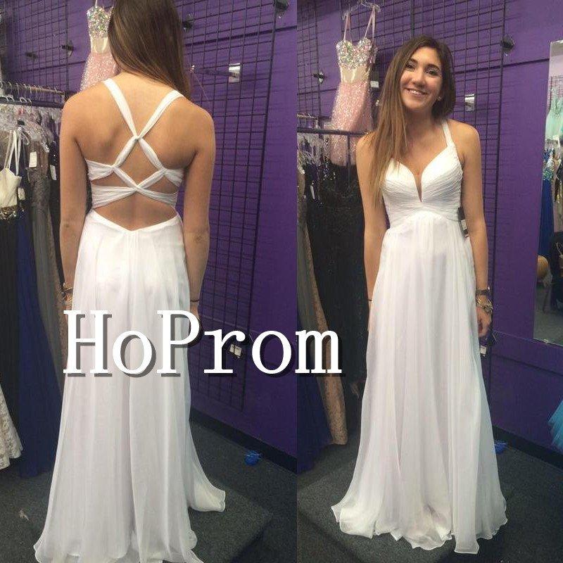 A-Line Simple Prom Dresses,White Chiffon Prom Dresses
