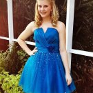 Short Tulle Beading Homecoming Dress, Royal Blue Prom Dresses