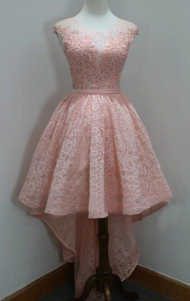 Beading Homecoming Dress, Pink Lace High Low Homecoming Dresses