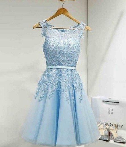 Appliques Sky Blue Elegant Scoop Neck Homecoming Dress