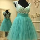 Cap Sleeve Homecoming Mint V-neck Dresses with Lace Appliques