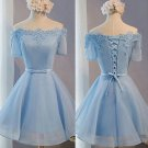 Off Shoulder Baby Blue Homecoming Dresses with Appliques