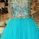 Blue Tulle Round Neck Homecoming Dresses wih Gold Appliques