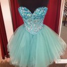 Sweetheart Mint Crystal Tulle Homecoming Dresses