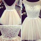 Neck Beading Applique Ivory Scoop Homecoming Dress