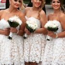 Sweetheart Cute Bridesmaid Homecoming Dress, Ivory Lace Dresses
