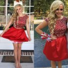 Beading Homecoming Dress, Hot Red Two Pieces Short Prom Dresses