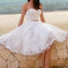 A-line Lace Sweetheart Homecoming Dress with Beadings