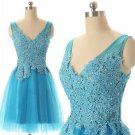 V-neck Baby Blue Homecoming Dress with Appliques