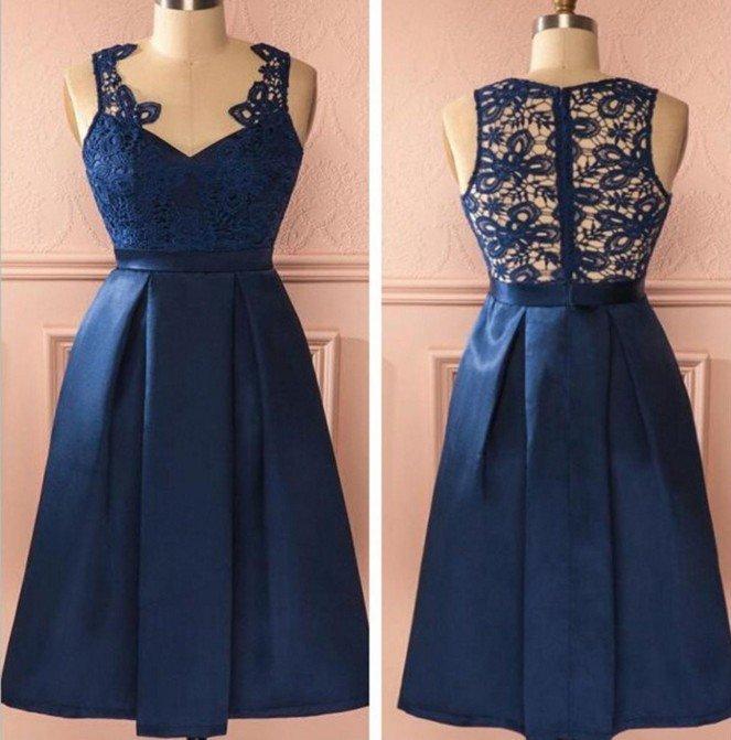 V-neck Lace Navy Blue Homecoming Dress, Short Prom Dresses