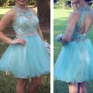Open Back Cute Mint Homecoming Dresses with Beadings