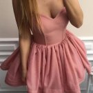 Blush Pink Short Strapless A-line Homecoming Dress Ball Gown