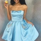 Sky Blue Short Strapless Homecoming Dress with Pockets