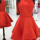 Red Short Homecoming Dress with Jewel Neck