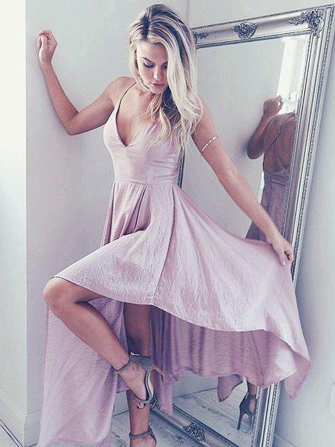 Pink Long Straps V Neck Homecoming Dress Dancing Dress