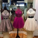 Two Piece Homecoming Dresses, Halter Lace Cute Homecoming Dress
