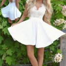 Cap Sleeves White Lace Backless Homecoming Dress
