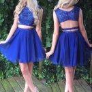 Royal Blue Chiffon Two Piece Homecoming Dress