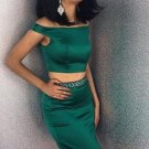 Off Shoulder Two Piece Dark Green Homecoming Dress