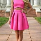 Two Piece Homecoming Dress, Hot Pink Short Homecoming Dresses