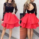 Two Piece Homecoming Dress, Long Sleeves Black Lace Dress