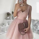Pink V-neck Homecoming Dress with Appliques