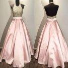 Backless Homehoming Dress, Pink Halter Beadings Homehoming Dress
