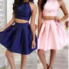Strapless Two Pieces Hater Homehoming Dress, Navy Blue Homehoming Dress