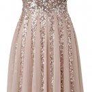 Brown Sequins Homecoming Dress, Long V Neck Homecoming Dress
