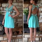 V Neck Crystals Homecoming Dress, Open Back Backless Homecoming Dresses