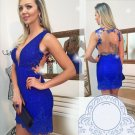 Lace Open Backless Homecoming Dress, Royal Blue Back Homecoming Dress