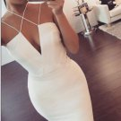 Short V Neck Sexy Homecoming Dress,White Deep Homecoming Dresses