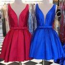 Red Deep V Neck Open Back A Line Short Homecoming Dress