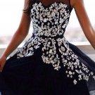 Applique Black Chiffon Sweetheart Strapless Homecoming Dress