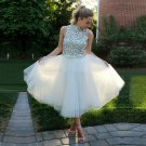 White Cocktail Homecoming Dress, White Beads Dresses