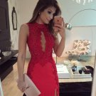 Red Lace Strapless Short Sexy Homecoming Dress, Homecoming Dress 2017