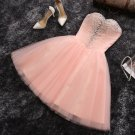 Baby Pink Sweetheart Crystal Tulle A Line Homecoming Dress