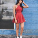Red Halter Simple Short A Line Homecoming Dress