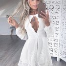 White Lace Long Sleeve Sexy Homecoming Dress