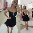 Beads Lace Short Homecoming Dress , Black Deep V Neck Open Back Homecoming Dress