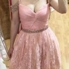 V Neck Beads Lace Sexy Short Baby Pink Homecoming Dress