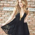 Strapless Deep V Neck Homecoming Dress, Black Lace Short Sexy Homecoming Dress